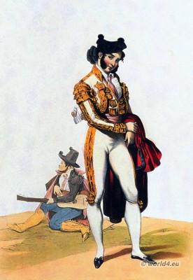 Spanish Torero bullfighting costume. Bolero Jacket. Traditional Spain national costume.