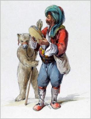 Dancing bear. Traditional Turkey showman clothing. Ottoman empire costume. Amedeo Preziosi drawing