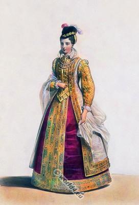 Jeanne d'Autriche. Joanna of Austria. Renaissance costume. 16th century fashion. French Queen.
