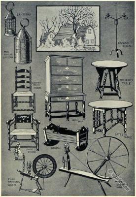 American, colonial, furniture, Puritan, Quaker