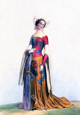 Duchess costume. Charles VI. Medieval costumes. Gothic fashion. Burgundy modes