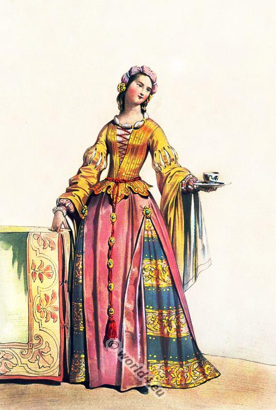 German Woman In 1515 Renaissance Period Fashion 16th