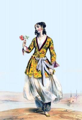 Persian female, Persia 19th century, Iran, historic,clothing,traditional,oriental,costume,dress,