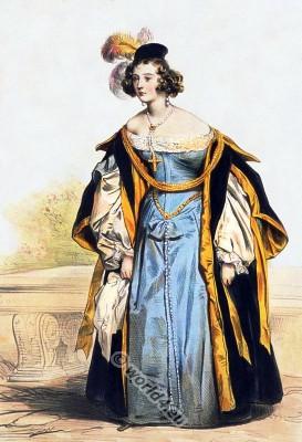 Spanish renaissance fashion. 16th century medieval clothing.