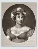 Madame de Staël. Famous woman 18th century. French writer. Revolution costume. Merveilleuses hairstyle