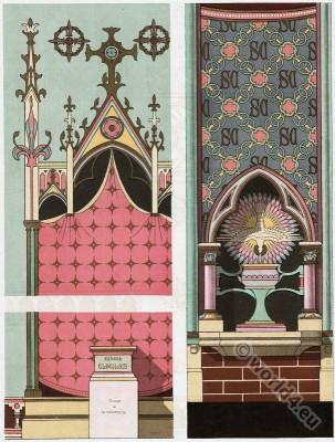 Decoration, Chapelle Sainte Clotilde. Notre Dame de Paris. Mural paintings. Church of our Lady. French Architect, Eugène Viollet-le-Duc