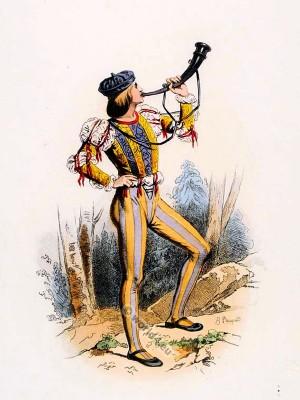 Page. Louis XII court dress. Renaissance costume. Medieval clothing.