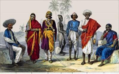 Indian hindu costumes. Coolie clothing. Brahmin costume. Kamathi dress. Baishnoo of Allahabad