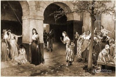 Madam Roland in prison Sainte-Pélagie. French revolution costumes. Photogravure.
