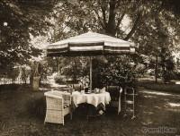 Friedmann & Weber - Baden-Baden. Art deco Interior. Covered tea table in the Palais Stourdza.
