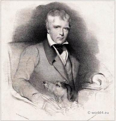 Portrait Sir Walter Scott. Battle of Maida. Deerhound Maida. Scottish historical novelist, playwright, and poet