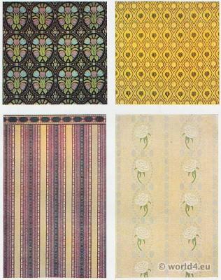 Designer Bruno Paul. Fabrics design. Hand-knotted carpets, furniture fabrics, wallpapers. Deutscher Werkbund, German architect, New Objectivity, Simplicissimus