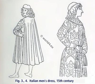 Italian men`s dress, 15th century. Italian Renaissance dress