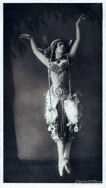 Tamara Karsavina in the Firebird. Russian Ballet. Dance costume. Famous Opera