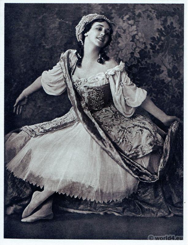 Tamara Karsavina in Le Pavillon d'Armide. Russian Ballet. Dance costume. Famous Opera