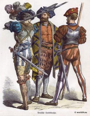 Lansquenet costumes. Mercenaries. Renaissance Military. 16th century clothing