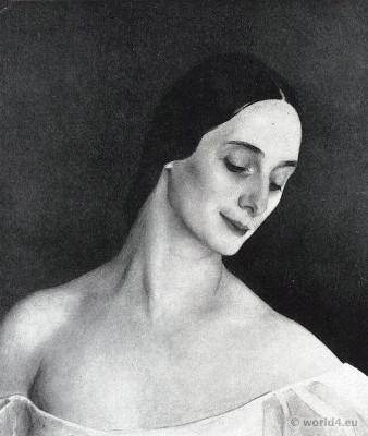 Ballet dance costume. Anna Pawlowna Pawlowa Russian master dancer of classical ballet.