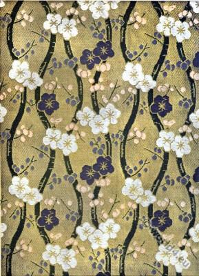 Brocaded satin XVIII century. Fragment d'un satin broché du XVIII siècle