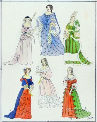 Louis XIV fashion. Élégantes. 17th century. Baroque fashion.