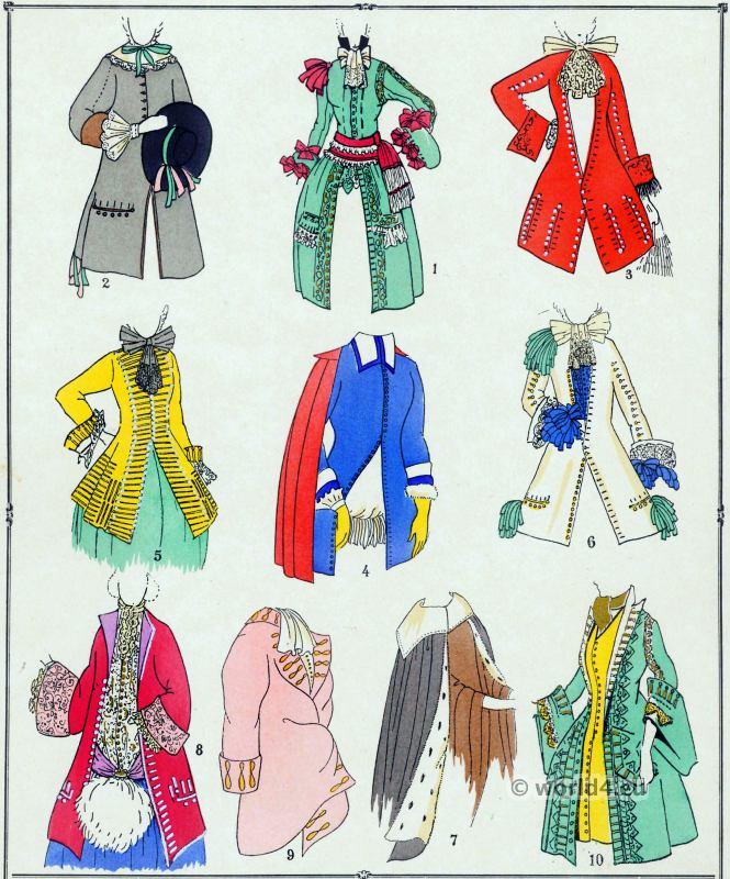 Louis XIV fashion. Manteaux. 17th century. Baroque fashion.