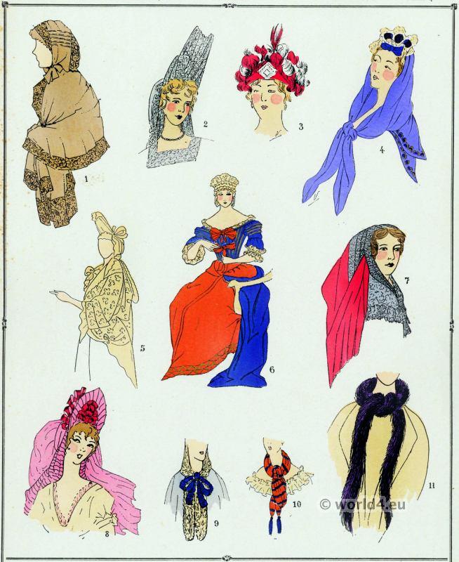 Louis XIV fashion. Coiffures, Capuchons. 17th century. Baroque fashion ...