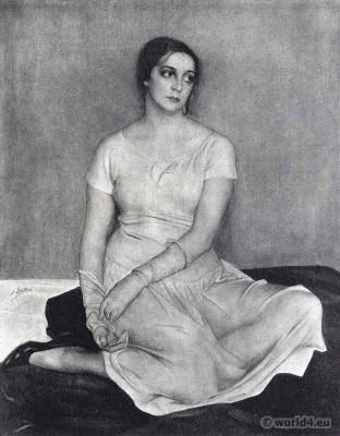 Natalia Kowanko. Russian-Ukrainian actress. Silent movie star. Art deco costume.