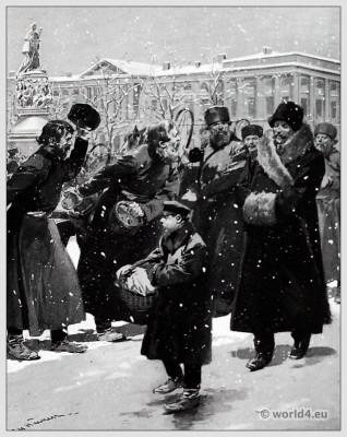 Traditional Russian costumes. Russia folk dress. Ethnic clothing. Coachmen Nevsky Prospect