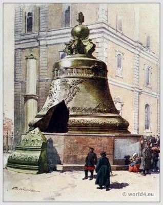 Traditional Russian costumes. Russia folk dress. Ethnic clothing. The Tsar Bell Tsarsky Kolokol