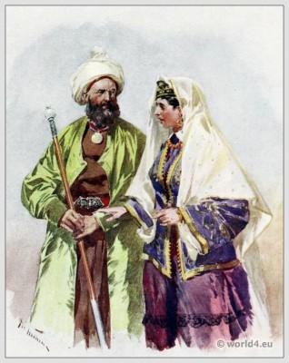 Traditional Russian costumes. Russia folk dress. Ethnic clothing. A Turkoman