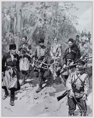 Traditional Russian costumes. Russia Huntsmen dress. Caucasus clothing.