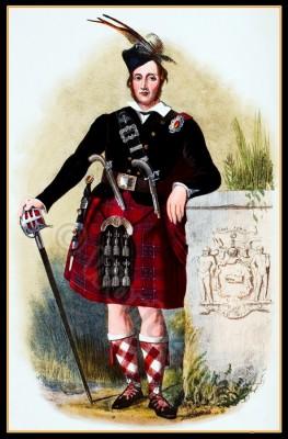 Traditional Scottish national costume. Scottish Tartan, Kilt. Clan Siosal. Clan Chisholms.