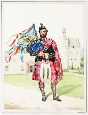 Scottish Piper William Macdonald. Highlander. Scotland. Traditional Scottish National Costume.