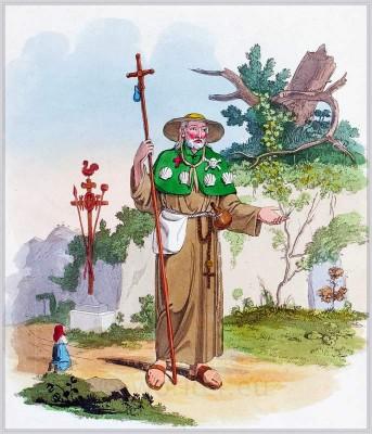 Loretto Pilgrim clothing. Monk costume. Italy national costumes