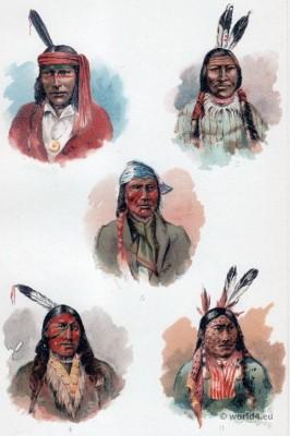 Native Americans initiation. Ojibwa Facial Decoration. Indian Shamans.