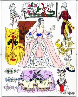 Rococo fabrics. Louis XVI. Marie Antoinette fashion.