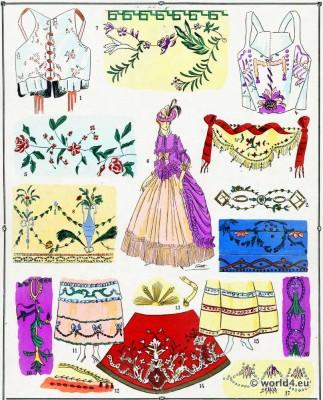 Broderies. Dentelles. La mode Louis XVI. Costumes de rococo. 18 vêtements de siècle.