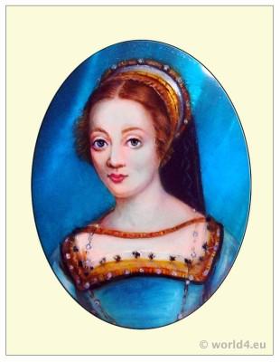 French Queen. Claude de France. Portrait. Renaissance fashion. Middle ages costume.