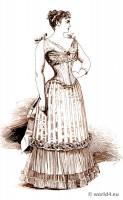 Corset bodice fashion. 19th century bodice and underwear. Belle Époque, Edwardian fashion period.