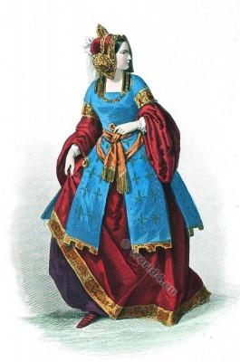 Moyen Age costume. Duchess Cour de Louis XII. Mode de 15ème siècle. Costumes actuels. Musée cosmopolite