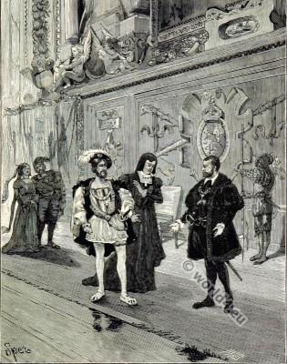 Francis I, Anne Pisseleu, Duchesse d'Etampes, Charles Quint. Renaissance fashion