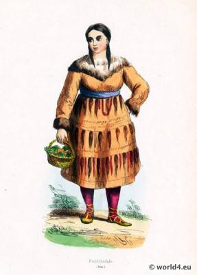 Kamtschatka costume. east asian costumes. Traditional Russian national costume