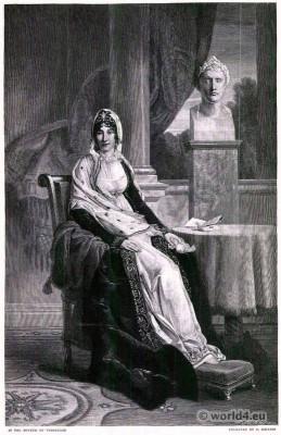French first empire costumes. Maria Letizia Ramolino Buonaparte. Mother of Napoleon I of France.