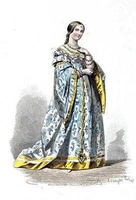 Costume Renaissance. Baroness Cour de François Ier. Mode de 16ème siècle. Costumes actuels. Musée cosmopolite