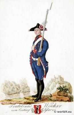 Switzerland military uniform. Canton Glarus Shooter dress.  18th century Swiss army uniforms.