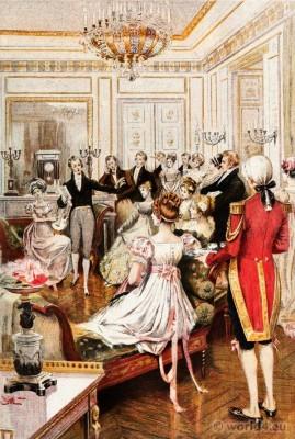 French first empire costumes. Regency Fashion. Albert Lynch, Eugène Gaujèan, Octave Uzanne.