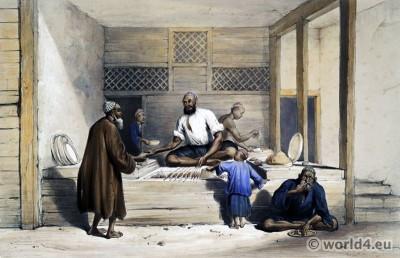 James Atkinsons. Clothing & dress. Asia Food vendors. Afghanistan. Kâbol. Skewer cookery