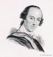 Portrait Horatio Walpole. French Revolution History. Directoire costume. British writer. Gothic Novel. English landscape garden