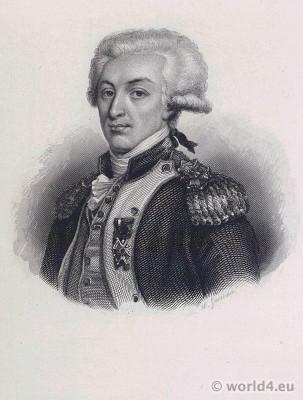 Portrait Marquis de Lafayette. French Revolution History. Directoire costume