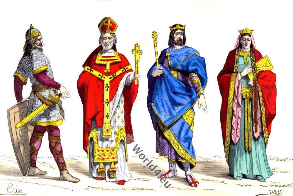 Merovingian, King, Queen, Warrior, Bishop, 6th century, fashion, costumes, history