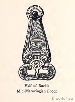 Merovingian Buckle. Frankish jewelry. Half of Buckle. Mid-Merovingian Epoch.